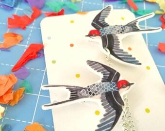 Swallow double brooch