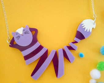 Rainbow Alice in Wonderland Cheshire cat Necklace