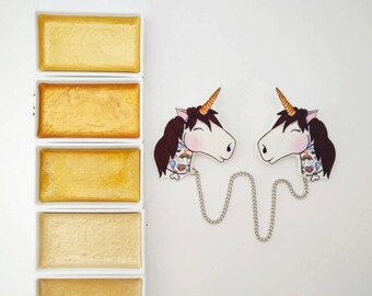 Non existent tattoo unicorn double brooch/collar clips