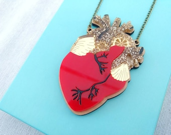 Perspex anatomical heart necklace