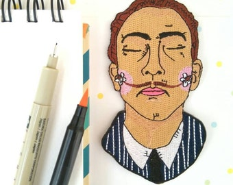 Salvador Dalí heat adhesive embroidered patch