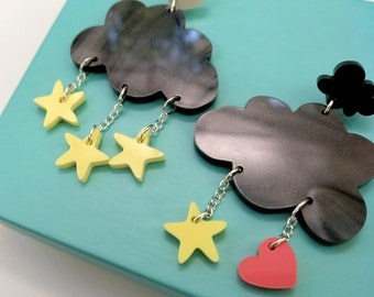 Night time clouds statement earrings