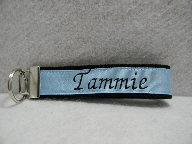 Personalized Key Chain Key Fob...Black and light blue with black letters
