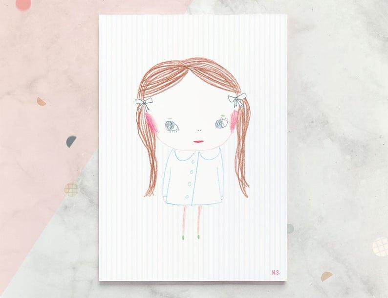 Muurdecoratie Babykamer Meisje.Meisje Illustratie Poster Kacy Muurdecoratie Kinderkamer Etsy