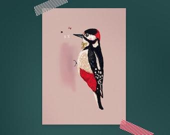 Postcard Bird Illustration WOODPECKER BIRDIE / bird illustration / animal artwork / bird art card / just because card