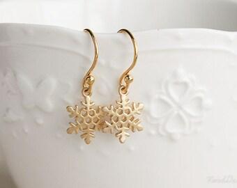 Dainty Snowflake Earrings, Snowflake Dangle Earrings, Cute Gold Earrings, SImple Gold Earrings, Christmas Gift, Stocking Stuffers