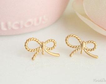 Pretty Ribbon Earrings, Matte Silver or Matte Gold