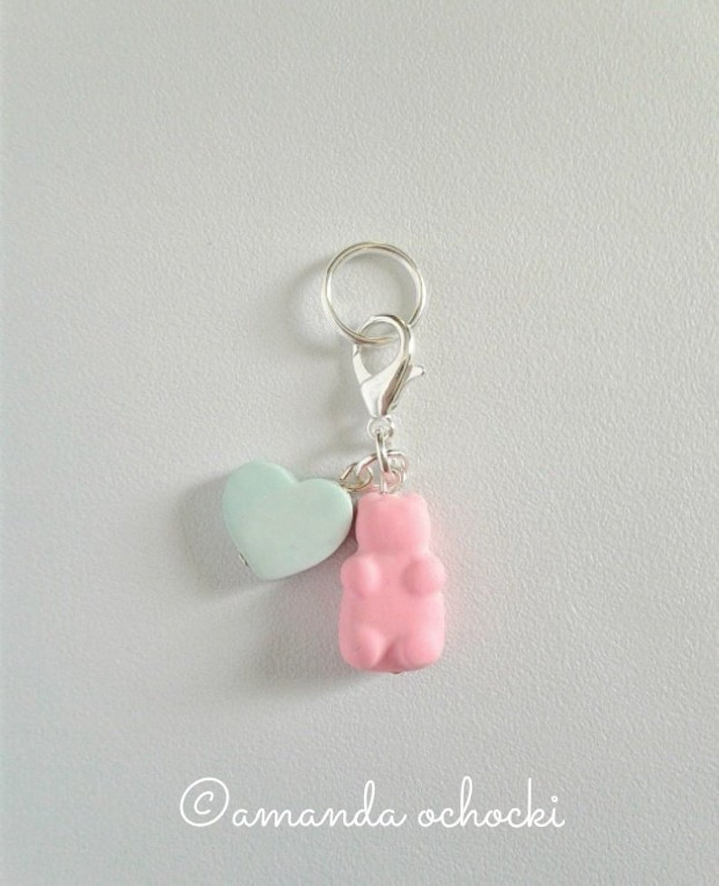 Gummy Bear & Heart Charm  Stitch Marker  Progress Keeper  image 0