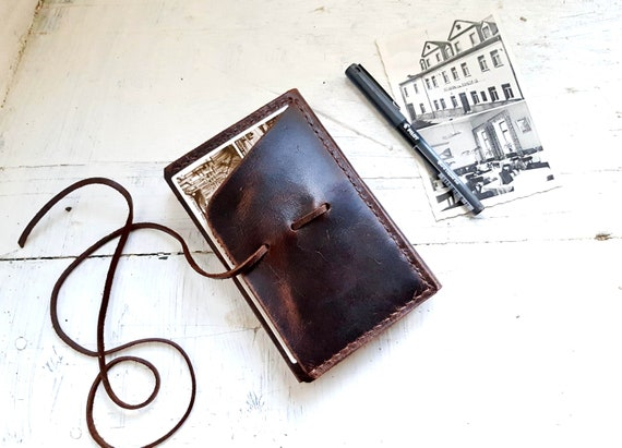 Travel journal cover. Pocket moleskine cover. Small moleskine leather case. Refillable Journal. Notebook cover. Moleskine organizer