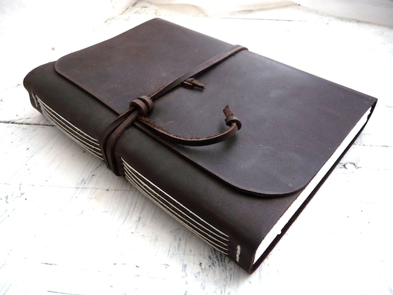 Large Leather journal or sketchbook measures 16cm by 21.5cm