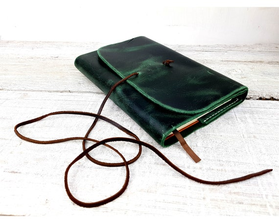 Green refillable leather Journal. Moleskine refillable cover, Leuchtturm1917 book, A5 leather journal. Refillable Book Cover