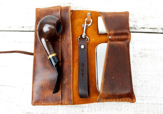 Brown leather pipe pouch, pipe roll, free personalisation leather pipe case, leather tobacco bag, pipe bag, pipe holder, includes tin