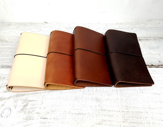 Midori notebook covers, Fauxdori cover, Field notes cover, Refillable journal, Moleskine notebook cover, Free Personalisation undyed leather
