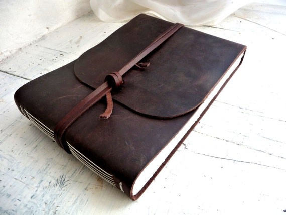 Large leather journal- espresso brown pull up measures 16cm by 21.5cm