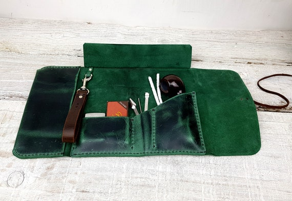 Leather pipe roll, leather pipe pouch, leather pipe case, leather pipe and tobacco bag, pipe bag, pipe holder, free personalisation