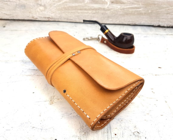 Leather pipe roll, personalised pipe pouch, leather pipe pouch, leather pipe and tobacco bag, undyed leather, pipe holder, personalisation
