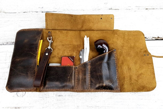 Leather pipe pouch, leather pipe roll, leather pipe case, leather pipe and tobacco bag, pipe bag, pipe holder, free personalisation