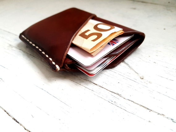 Slim Leather Card Wallet. Minimalist Wrap Wallet. Minimalist Card Wallet. Leather Card Sleeve. Free Personalisation.