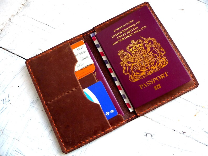 Paspoort Portemonnee.Lederen Paspoort Portemonnee Paspoort Geval Travel Wallet Etsy