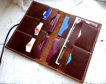Large brown leather passport wallet, family passport wallet, travel wallet, passport case, family passport holder