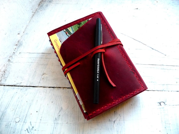 Red leather moleskine cover. Pocket moleskine cover. Small moleskine leather case. Travel accessories. Notebook cover. Moleskine organizer