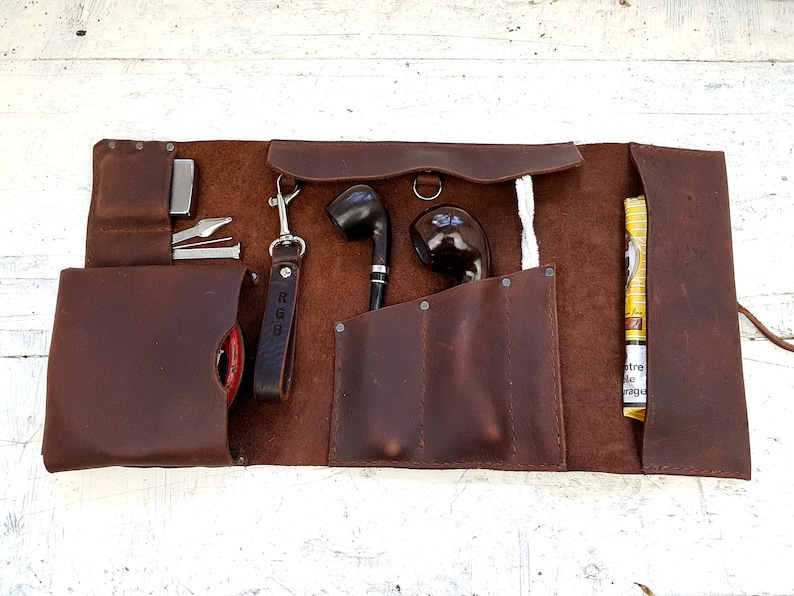 free personalisation pipe holder 2 pipe leather roll leather tobacco tray leather pipe pouch tobacco pouch leather pipe pouch