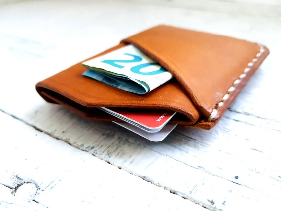 Slim Leather Card Wallet. Minimalist Wrap Wallet. Minimalist Card Wallet. Leather Card Sleeve. Free Personalisation.