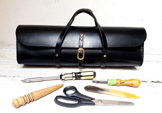 Handmade leather tool bag, Tan leather tool case, Leather bag, Leather tool kit bag, Tool organizer, Motorcycle tool bag, Artist bag