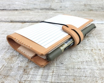 Leather index card holder, Index card wallet, 3x5, A6, free personalisation