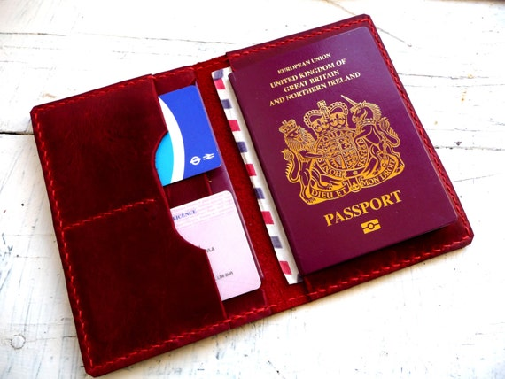 Red leather passport wallet, Passport case, Travel Wallet,