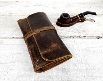 Leather pipe roll, personalised pipe pouch, leather pipe case, leather pipe and tobacco bag, pipe bag, pipe holder, free personalisation