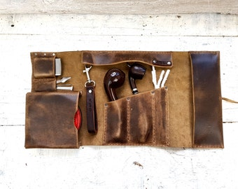 2 pipe leather roll, leather pipe pouch, leather pipe pouch, tobacco pouch, pipe holder, leather tobacco tray, free personalisation