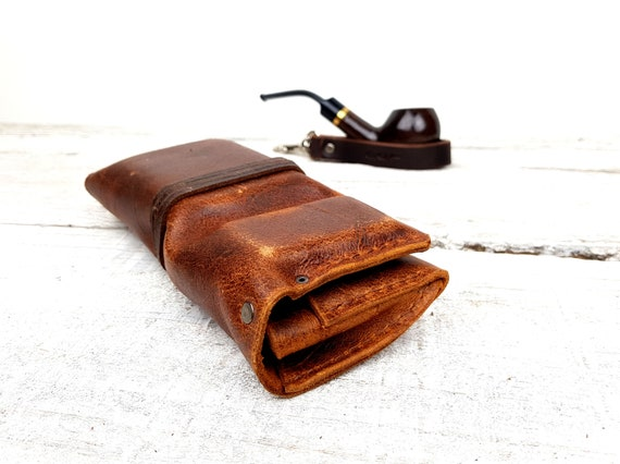 Brown leather pipe roll, includes leather pipe holder, includes tobacco tin, leather pipe pouch, leather pipe bag, free personalisation