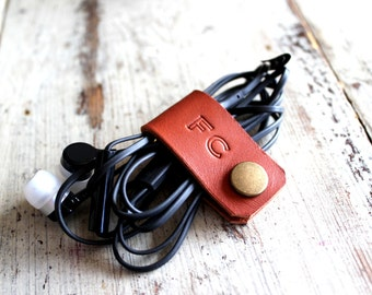 Cord holder, cord organizer, earbud holder, leather cable holder, cable cord keeper, earbud organizer, earphone organizer, headphone holder