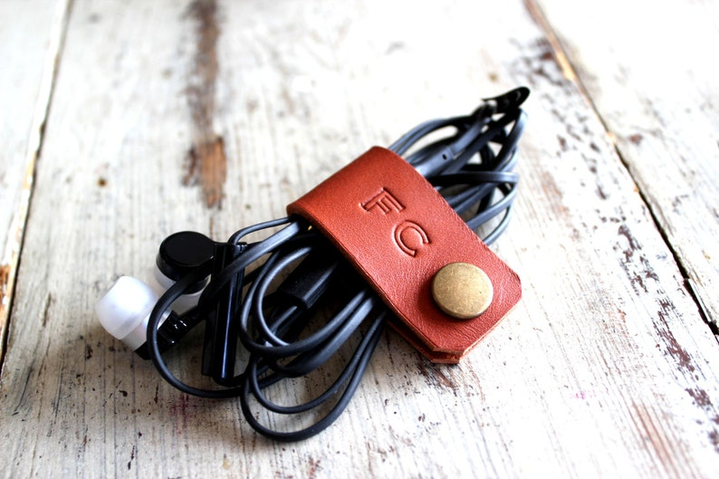 Cord holder cord organizer earbud holder leather cable image 0