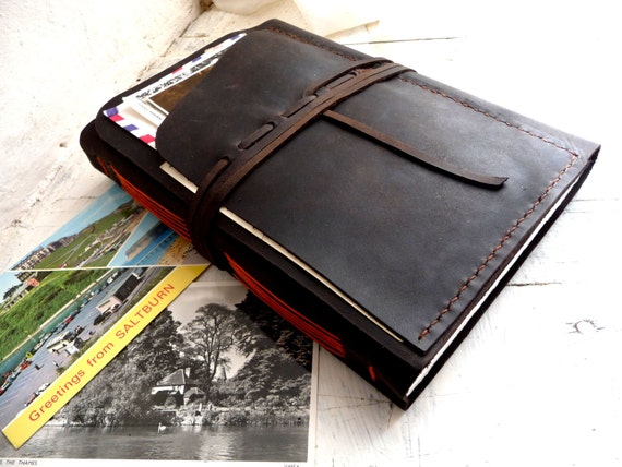 Large leather travel journal with pockets- the ultimate travel journal