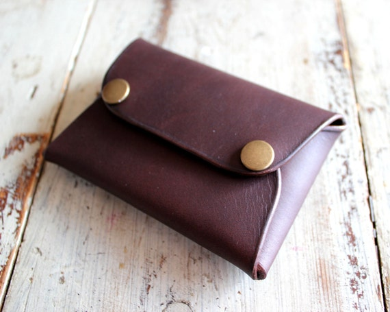 Envelope card wallet, leather card wallet, leather wallet with snap fasteners, free personalization