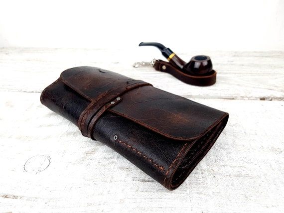 Leather pipe pouch, leather pipe roll, leather pipe case, leather pipe and tobacco bag, personalised, pipe holder, free personalisation