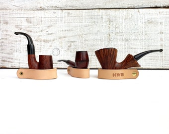 Leather pipe holder, leather pipe stand, free personalisation,