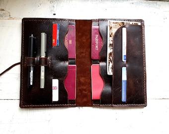 Large leather passport wallet, family passport wallet, travel wallet, passport case, family passport holder