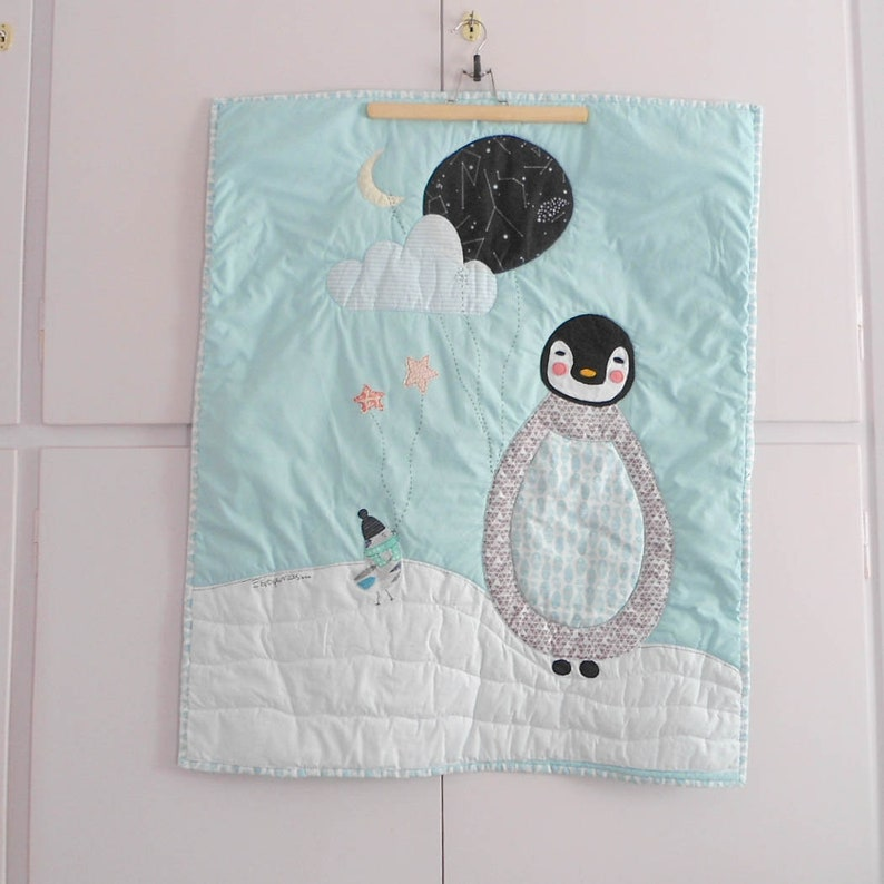 The penguin and the birdie Baby blanketplay-mat Made to order Nursery Decor Baby Shower Gift Custom personalized stroller quilt