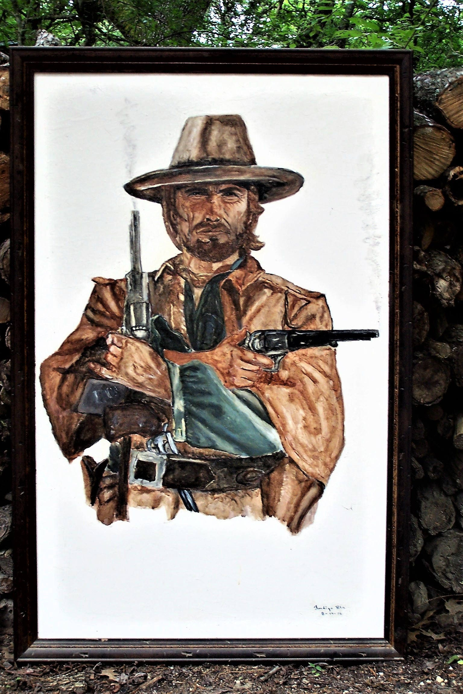 Clint Eastwood ~Josey Wales water color w wood frame painted