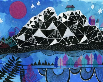 Geometric Mountain Art Print, Adventure Nursery Decor, Nature Art, Kid's Bedroom Wall Decor, Surreal Landscape Art Print, Whimsical Wall Art