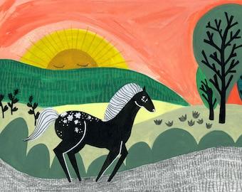 Horse Art Print. Horse Gift for Girls. Farm Animal Prints. Barnyard Animals. Pony Art. Kids Room Art. Playroom Wall Art. Horse Nursery Decor