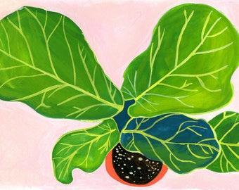 Plants on Pink. Indoor Plant Art. Green Leaf Art. House Plant Painting. Plant Illustration. Plant Lover Gift. Kitchen Decor.Crazy Plant Lady