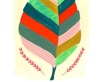 Feuille Fine Art Print, Art feuille d'automne, feuille d'Illustration, imprimé coloré de mur, Decor chambre Boho, automne wall Art, Art végétal, décor botanique