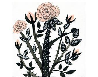 Rose Art Print, Pink Flower Wall Art, Floral Illustration, Botanical Art Print, Pink Rose Nursery, Modern Flower Art, Gallery Wall Art