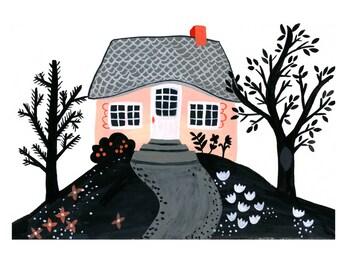 Whimsical Wall Art, Playroom Decor Pink Tiny House Art, Modern Nursery Girl, Home Sweet Home Print, Housewarming Gift, House Illustration