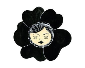 Impression d'Art de fille de fleur, fille lunatique Art, Art mural fleur, fleur Face, fille visage Art, fille lunatique Decor, les filles chambre Art, tirages surréalistes