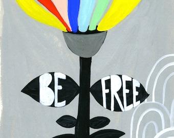 Inspiration Wall Art, enfants colorés imprimés, arc en ciel Art Print, Art Floral, décor de chambre à coucher pour enfants, Art mural lunatique, Art Floral